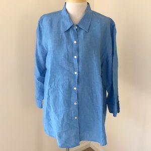 L.L.Bean 3X blue linen button down shirt .